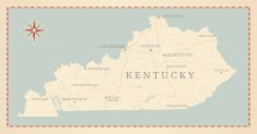Kentucky,Map,Retro Revival,Old-fashioned,Compass Rose,Antique,Lake,Intricacy,River,Highway,Textured,Vector,1940-1980 Retro-Styled Imagery
