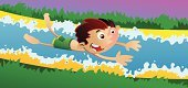Water Slide,Little Boys,Water,Playing,Sliding,Babies And Children,Lifestyle,Vector Cartoons,Fun,Outdoors,Illustrations And Vector Art