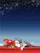 Car,Santa Claus,Christmas,Holiday,Driving,Winter,Convertible,Reindeer,Gift,Happiness,Cheerful,Rudolph The Red-nosed Reindeer,Speed,Santa Hat,Night,Senior Adult,Sack,Cold - Termperature,Red,Christmas,Holidays And Celebrations,Horizontal,Looking At Camera,Dark,Holiday Backgrounds,Illustrations And Vector Art,Beard,Smiling,One Person,Vector,Ilustration,Copy Space,Star - Space