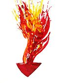 Fire - Natural Phenomenon,Arrow Symbol,White Background,Abstract,Ilustration,Flame,Direction,White,Image,Color Image,Painted Image,Concepts And Ideas,Business Symbols/Metaphors,Arts And Entertainment,Business,Sign,Drop