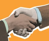 Handshake,Greeting,Job Interview,Business,Meeting,Interview,Pop Art,Congratulating,Friendship,Ambassador,Human Hand,Color Image,Agreement,Two People,People,Decisions,Gripping,Businessman,Horizontal,Ilustration,Clipping Path,Male,Orange Background,The Human Body,Part Of,Partnership
