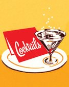 Pop Art,Cocktail,Drink,Alcohol,Martini Glass,Color Image,Martini,Soda,Glass,Celebration,Ilustration,Plate,Tray,Yellow Background,Vertical,Cherry,Western Script,No People,Inside Of