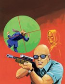 Color Image,Murder,Rifle,Two People,Ilustration,Target,30s,Victim,Adult,Shooting,Danger,Violence,Aiming,Evil,Suit,Three Quarter Length,Head And Shoulders,Grim Reaper,Cartoon,Completely Bald,Mid Adult Men,Only Men,Men,Adults Only,Red Background,Button Down Shirt,Mid Adult,Sunglasses,Spooky,Vertical,Death,Holding,People