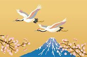 Mt Fuji,Japan,Japanese Crane,Cherry Tree,Cherry Blossom,New Year's Day,Plum Blossom,Ilustration,Japanese Culture,Cartoon,Flower,Common Crane,Drawing - Art Product,Cultures,Luxury,Illustrations And Vector Art,Vector Cartoons,East Asian Culture,Flying,Good Luck Charm,Birds,Gold Colored,Animals And Pets,Vector,Nature,Group Of Animals,Bud,Branch,Spring,Two Animals,Pink Color