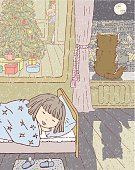People,Tranquil Scene,Decor,Happiness,City,Home Interior,Gift,Dreamlike,Bed,Mirror,Domestic Room,Drawing - Art Product,Bedroom,Window,Drawing - Activity,Parent,New Year's Eve,Sleeping,Christmas,Domestic Cat,Tree,Light - Natural Phenomenon,Moon,Night,Reflection,Shadow,Childhood,One Person,Christmas Tree,Child,Outline,Lighting Equipment,Christmas Present,Domestic Life,Illustration,Cartoon,New Year,Girls,Vector,Pastel Colored,Serene People,Sity Life,House Conditions,Homely Atmosphere
