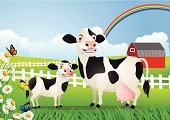 Cow,Milk,Family,Mother,Ilustration,Farm,Cartoon,Backgrounds,Fun,Dairy Farm,Landscaped,Young Animal,Grass,Vector,Ranch,Illustrations And Vector Art,Humor,Pasture,Animals And Pets,Meadow,Farm Animals,Animal,Cattle,Nature,Domestic Animals,Agriculture