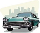 Vintage Car,Car,1950s Style,Collector's Car,American Culture,City,Drive,Street,Headlight,Front View,Skyscraper,Tire,Blue,Transportation,Illustrations And Vector Art,Lifestyle,Isolated Objects,Land Vehicle,Sedan,Alloy Wheel,Travel,Driving,Domestic Car
