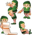 Elf,Santa Claus,Christmas,Carrying On Shoulders,Vector,Gnome,Midget,Dwarf,Mustache,Reading,Sleeping,Costume,Posing,Holiday,Sideburn,Goatee,Striped,Beard,santas helper,wish list,Pantyhose,People,Hat,Piggyback,Leaning,Pointing,Green Color,Looking At Camera,Holidays And Celebrations,wish-list,Bell,Christmas