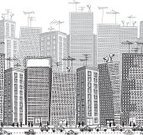 City,Pattern,Built Structure,Urban Scene,Seamless,Building Exterior,Black And White,Billboard,Vector,Repetition,Grayscale,Traffic,Busy,Crowded,Skyscraper,Office Building,Street,Car,Carton,Ilustration,Street Light