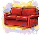 Sofa,Cushion,Red,Ilustration,Grunge,Sketch,Two Seater Sofa,Painted Image,Paintings,Brush Stroke,Drawing - Art Product,hand drawn,Vector Backgrounds,Painterly Effect,Illustrations And Vector Art,Household Objects/Equipment,Objects/Equipment,Vector,Art,Multi Colored,Business