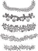 Drawing - Art Product,Branch,Laurel Wreath,Rose - Flower,Vine,Leaf,Pine Cone,Single Flower,Flower,Nature,Vector,Growth,Black And White,Ilustration,Frame,Decoration,Design Element,Plant,Variation,Chain,Label,Scroll Shape,Swirl,Isolated On White,Set,Page Divider,Design,Ornate,hand drawn,Black Color,Copy Space