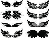 Wing,Artificial Wing,Coat Of Arms,Bird,Tattoo,Symbol,Vector,Simplicity,Set,Retro Revival,Computer Graphic,Shape,Ornate,Silhouette,Design,Design Element,Black Color,No People,Computer,Ilustration,Collection,Dark,Symmetry,Illustrations And Vector Art,Vector Icons,Horizontal,Gray,Ink,Isolated Objects