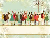 Christmas,Child,Winter,Offspring,Community,Banner,Multi-Ethnic Group,Celebration,Joy,Snow,Snowflake,Little Girls,Design,Arms Raised,Little Boys,Vector,Chinese Ethnicity,African Descent,Group Of People,Native American,Horizontal,Caucasian Ethnicity,Christmas,Holidays And Celebrations,New Year's,Holiday Backgrounds