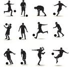 Soccer,Silhouette,Soccer Player,Sport,Back Lit,Soccer Ball,Football,Football Player,Vector,Kicking,Men,Muscular Build,Running,Black Color,Male,Goalie,Heading the Ball,Group Of People,Design Element,Sports Equipment,Defending,Celebration,Team Sports,Sports And Fitness,Protection,Adult,Competitive Sport,Tackling,Competition,Set