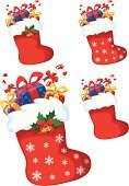 Santa Claus,Sock,Christmas Stocking,Winter,New,Gift,Holiday,Vector,Christmas,Cartoon,Set,New Year's,Vector Cartoons,Christmas,Holidays And Celebrations,Illustrations And Vector Art,Year