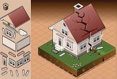 House,Broken,Isometric,Damaged,Earthquake,Cracked,Fracture,Breaking,Land,Roof,Built Structure,Collapsing,Architecture,Residential Structure,Computer Icon,Vector,Building Exterior,Extreme Terrain,Window,Symbol,Crisis,Failure,Shattered Glass,Disaster,Real Estate,Ruined,Ilustration,Natural Disaster,Door,Sand,Dividing,Small,Crevice,Risk,Evacuation,No People,Outdoors,Land Feature,rendered,Environment,Danger,Single Object,Aftershock,Palace,Concepts,Flooring,Isolated