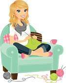 Knitting,Women,Crochet,Conspiracy,Wool,Sitting,Blond Hair,Chair,Working,Beautiful,Tea - Hot Drink,Scarf,One Woman Only,Beauty,Smiling,Cheerful,Happiness,Coffee - Drink,Comfortable,Pillow,Concepts And Ideas,Multi Colored,Illustrations And Vector Art,People,Modern Life,One Person