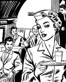 Cabin Crew,Airplane,Black And White,Service,Flying,Commercial Airplane,Women,Indoors,Vehicle Interior,Passenger,Line Art,Men,Young Women,Working,Mature Adult,Tourist,People,Illustration Technique,Tray,Young Men,Manual Worker,Mature Men,Adult,Transportation,Travel,Vertical,Ilustration,Occupation,Five People,Uniform,Young Adult,Group Of People,Standing,Sitting,Adults Only,Drink,Tourism,Head And Shoulders,Service Occupation