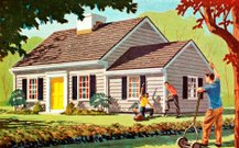 Suburb,Neighbor,Residential Structure,House,Color Image,Gardening,Real Estate,Greeting,Ilustration,Residential District,Building Exterior,Roof,Outdoors,Group Of People,Landscaped,Illustration Technique,Facade,Gesturing,Lawn,Architecture,Casual Clothing,People,Front or Back Yard,Three People,Adult,Adults Only,Care,Grass,Horizontal,Women,Men,Tree,Full Length,Day,Sunlight