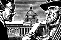Uncle Sam,Government,Bribing,Law,USA,Finance,Black And White,Politician,Politics,Giving,Men,Concepts & Topics,Casual Clothing,People,Holding,Congress,Patriotism,Two People,Outdoors,Adults Only,Hat,Justice - Concept,Only Men,Day,Horizontal,Adult,Building Exterior,Ilustration,Head And Shoulders,Illustration Technique,Paper,Architecture,Legal System