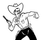 Black And White,Cowboy,Wild West,Gun,Distraught,Horizontal,Anger,Emotion,Facial Hair,White Background,Adults Only,Ilustration,Gun Holster,Line Art,Weapon,Only Men,One Man Only,Illustration Technique,Studio Shot,Mustache,People,Personal Accessory,Old-fashioned,Conflict,Handgun,Adult,Hat,One Person,Facial Expression