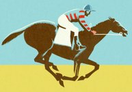 Horse Racing,Racehorse,Jockey,Horse,Color Image,Sport,Sports Race,Men,Recreational Horseback Riding,Riding,Animal,One Animal,Horizontal,Illustration Technique,Speed,Only Men,Outdoors,Full Length,Colored Background,People,One Man Only,Ilustration,Domestic Animals,Animal Themes,Adult,Adults Only,One Person