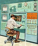 Computer,Technology,People,Control Room,Control Panel,Control,Working,Men,Gauge,Ilustration,Manual Worker,Color Image,Electrical Equipment,Science and Technology,One Person,Equipment,Using Computer,Illustration Technique,One Man Only,Vertical,Indoors,Adult,Adults Only,Only Men