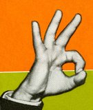 Human Hand,OK Sign,Thumb,Color Image,Gesturing,Ilustration,Part Of,Men,Colored Background,Illustration Technique,The Human Body,One Man Only,Mannerism,People,Hand Sign,Adult,Vertical,Close-up,Studio Shot,Adults Only,Only Men,One Person,Communication