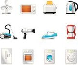 Appliance,Symbol,Computer Icon,Vacuum Cleaner,Domestic Kitchen,Icon Set,Refrigerator,Microwave,Washing Machine,Electrical Equipment,Domestic Life,Toaster,Vector,Hair Dryer,Electric Fan,Dryer,Kettle,Stove,Coffee Maker,Household Equipment,Group of Objects,Iron - Appliance,Technology,Set,Coffee Grinder,Isolated On White,Push Button,Interface Icons