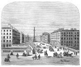 Dublin - Ireland,Old,Urban Scene,Old-fashioned,Ilustration,Engraved Image,Town,Street,Republic of Ireland,City,Architecture And Buildings,sackville,People,Bridge - Man Made Structure,Cityscape