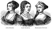 Anne Boleyn,Catherine Howard,Engraved Image,Engraving,Ilustration,Name Of Person,Old,Jane Seymour - Royal Person,People,1882,Victorian Style,Old-fashioned,Black And White,White,Sketch,Katharine Howard,Wife,Three People,Women,19th Century Style,Retro Revival,Image Created 1880-1889,Antique,Etching,Fame,Line Art,Drawing - Art Product,Image Created 19th Century,Queen,People,Horizontal,Black Color,History,Monochrome