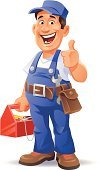 Mechanic,Repairman,Plumber,Manual Worker,Men,Cartoon,Construction Worker,Working,Thumbs Up,Work Tool,Repairing,Occupation,Ilustration,People,Toolbox,Cheerful,Vector,Cap,Humor,Comic Book,Coveralls,Tool Belt,Blue,Clip Art,Full Length,Skull Cap,Cute,Adjustable Wrench,Recovery,Isolated On White,Laughing,Belt,OK,Expertise