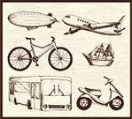 Blimp,Bicycle,Doodle,Bus,Transportation,Cruise Ship,Vector,Symbol,Set,Passenger Ship,Travel,Ilustration,Backgrounds,Travel Locations,Illustrations And Vector Art,Transportation,Vector Cartoons,Mode of Transport,Travel Backgrounds,Design,Moped,Group of Objects,Adventure,Industry,Land Vehicle
