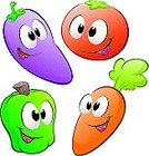 Tomato,Carrot,Vegetable,Cartoon,Humor,Fun,Cooking,Food,Domestic Kitchen,Food And Drink,Vector,Clip Art,Industry,Agriculture,Ilustration,Groceries,Pepper - Vegetable,Series,Cheerful,Smiling,Eggplant,Cute,Fruits And Vegetables,Freshness,Joy,Vector Cartoons,Illustrations And Vector Art,Set,Collection