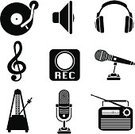 Headphones,Symbol,Microphone,Computer Icon,Music,Record,Radio,Icon Set,Silhouette,Musical Note,Metronome,Vector,Set,Clip Art,Sound Recording Equipment,Ilustration,Record Button,Vector Icons,Speaker Icon,Illustrations And Vector Art,music icons,Arts And Entertainment,Music