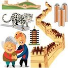 Great Wall Of China,China - East Asia,Hong Kong,Ilustration,Grandmother,Asia,Travel,Symbol,Snow Leopard,Chinese Culture,Vector,Tourism,Vacations,Grandfather,Building Exterior,Square,Tiger,China Wall,Animal Themes,One Animal,Architecture,Ideas,Creativity,Color Image,Two People