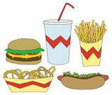 Food,Speed,Symbol,Fast Food Restaurant,Milkshake,Obsolete,French Fries,Burger,Drink,Heart Attack,Onion Ring,Heat - Temperature,Vector,Hot Dog,Ilustration,Hamburger,Circle,Clip Art,Onion,Fast Food,Cheeseburger,Unhealthy Eating,American Culture,Religious Icon,Lettuce,USA,Take Out Food,Generic,Fried,Beef,Tomato,Drinking Straw,Cheese,Slippery,Bun,Lunch,Food And Drink,Container,Dinner,Relish