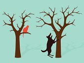 Mistake,Tree,Barking,Dog,Bare Tree,Domestic Cat,Sayings,Climbing,Animal,Cartoon,Simplicity,Concepts,Outline,Branch,Fun,Confidence,Failure,Computer Graphic,Good Posture,Ilustration,Pets,Orange Color,Barking Up The Wrong Tree,Drawing - Art Product,Domestic Animals,Perching,Watching,Illustrations And Vector Art,Vector Cartoons,Standing,Image,Concepts And Ideas,hindlegs,Sheltering
