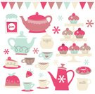 Cupcake,Cake,Tea Party,Teapot,Tea - Hot Drink,Bunting,Tea Cup,Retro Revival,Dessert,Preserves,Cute,Sugar,Cake Tier,Sweet Food,Milk,Donut,Saucer,Parties,Food And Drink,Holidays And Celebrations