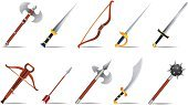 Sword,Arrow,Mace,Weapon,Saber,Spiked,Dagger,Club,Scimitar,Ilustration,Fantasy,Wood - Material,Axe,Icon Set,Pike - Weapon,Old,Battle,Vector,Gold Colored,War,Set,Concepts And Ideas,Illustrations And Vector Art,Blade,Sharp,Objects/Equipment,Silver Colored,Vector Icons,Collection,Military,Power,Antique