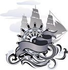 Nautical Vessel,Galleon,Brigantine,Sailboat,Wave,Sailing Ship,Sailing,Sea,Galley,Ribbon,Silhouette,Yachting,Sail,Banner,Exploration,Design Element,Illustrations And Vector Art,Vector Backgrounds,Time,Hand Wheel,Water,Sky,History,Blue,Ilustration,Outline,Explorer,Caravel,Adventure,Journey,Monochrome,Painted Image,Navy Blue,The Past,Design,Concepts And Ideas,Isolated Objects,Travel,Elegance,Yacht,Isolated-Background Objects
