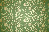 Floral Pattern,Retro Revival,Old-fashioned,Flower,Gold Colored,Pattern,Seamless,Wallpaper Pattern,Silk,Backgrounds,Single Flower,1940-1980 Retro-Styled Imagery,Textured,Ilustration,Style,Illustrations And Vector Art,Symmetry,Vector,Green Color,Vector Backgrounds,Classic,Decoration,Textured Effect,Elegance