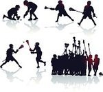Lacrosse,Lacrosse Stick,Team Sport,Vector,Celebration,Winning,Face Off,Defending,Throwing,Sports Team,Black And White,Sport,Cheerful,Sports Equipment,Set,Joy,Arrangement,Group Of People,Collection,Multiple Image,One Finger,Sports Helmet,High-Five,Ilustration,Offense