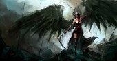 Fantasy,Warrior,Women,Battle,Grim Reaper,Medieval,Evil,Battlefield,War,Bird,Ilustration,Wing,Awe,Fairy Tale,Art,Beauty,Night,Storytelling,Sky,Scythe,Mountain,Death,Young Women,Mythology,Drawing - Art Product,Lifestyle,Passion,Body Armor,People,Fear,Danger,Arts And Entertainment,Young Adults,Mid Adult Women,Love At First Sight,Destruction,Imagination