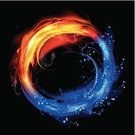 Fire - Natural Phenomenon,Water,Yin Yang Symbol,Circle,Sign,Ideas,Splashing,Inspiration,Liquid,Smoke - Physical Structure,Blue,Storm,Concepts,Igniting,Flash,Paint,Turning,Vector,Glowing,Grid,Insignia,Backgrounds,Red,Burning,Design Element,Shiny,Ilustration,Painted Image,Bubble