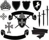 Sword,Shield,Coat Of Arms,Cross,Cross Shape,Unicorn,Vector,Medieval,Banner,Silhouette,Ilustration,Conflict,Crown,Arrangement,Collection,Set,Group of Objects,Black And White