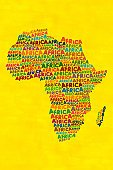 Africa,Map,Outline,Shape,Ilustration,Ideas,Concepts,Colored Background,Yellow,Multi Colored,Studio Shot,Vertical,Digital Composite,Abundance,Illustrations And Vector Art,Western Script,Concepts And Ideas,Travel Locations,No People,Large Group of Objects,Alphabet,Color Image