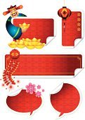 Chinese New Year,Design Element,Chinese Ethnicity,Flower,Banner,Chinese Lantern,Gold,Isolated,Decoration,Vector,Chinese Culture,Label,Computer Graphic,Red,Paper,Design,Holidays And Celebrations,Computer Icon,Springtime,Prosperity,Cherry Flower,New Year's,Copy Space,East Asian Culture,Ilustration,Curled Up