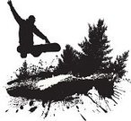 Snowboard,Snowboarding,Silhouette,Mountain,Snow,Vector,Sport,Grunge,Black And White,Winter,Forest,Coniferous Tree,Tree,Individual Sports,Extreme Sports,Winter,Plant,Ilustration,Nature,Sports And Fitness