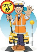 Crossing Guard,Safety,Road,Child,School Crossing Sign,Cartoon,Crosswalk,Traffic Warden,Men,Stop Sign,Zebra Crossing,Reflective Clothing,Stop,Manual Worker,Warning Sign,Pedestrian Crossing Sign,Occupation,Smiling,Stop Gesture,Working,Gesturing,Car,Job - Religious Figure,Illustrations And Vector Art,People,Transportation,Vector Cartoons